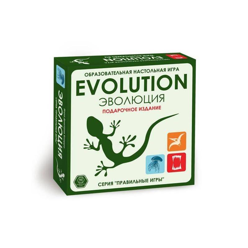 Настольная игра Эволюция Подарочный наборНастольная игра Эволюция подарочный набормаркиПравильные игры.<br>Подарочный набор включает в себябазовый набор игры, 2 дополнения Время летать и Континенты+ 18 новых карт.<br>Увлекательная играЭволюцияпредставляет собойсимулятор развития жизни наЗемле, который основан надарвиновском принципе естественного отбора. Игрокам предстоит развивать свои собственные популяции живых существ, присваивая им различные свойства. Каждое свойство помогает животному выжить. Цель игры - быстрее всех развить свою популяцию. Правила игры просты и подробно описаны в инструкции.<br>Комплектация:- 84карты (набор Эволюция);- 42карты (набор Время летать);- 42карты (набор Континенты);- 18специальных карт;- большая карта континентов;- 6разделителей территорий;- 70фишек еды;- 4кубика;- правила игры.<br>Количество игроков: 2-6.<br>Рекомендовано для детей от 12 лет.<br><br>Возраст от: 12 лет<br>Пол: Не указан<br>Артикул: 658337<br>Страна производитель: Россия<br>Бренд: Россия<br>Размер: от 12 лет