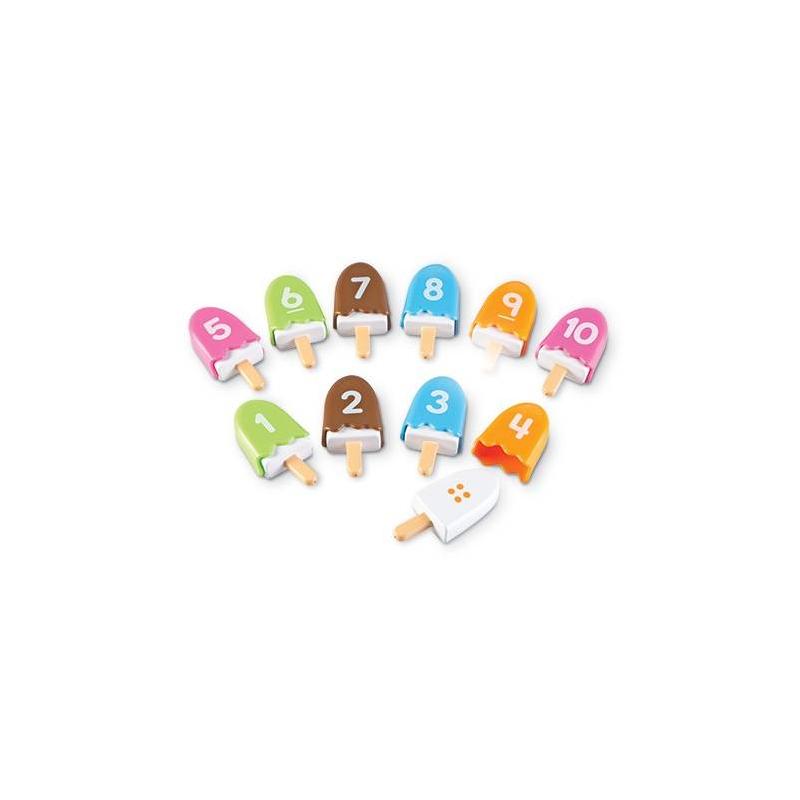 Набор Числа на палочкеНабор Числа на палочке серии Smart Snacksмарки Learning Resources.<br>Набор с ярким мороженым в игровой форме поможет детям научиться распознавать числа от 1 до 10, а также узнавать цвета. С мороженого можно снять глазурь и увидеть точечки, количество которых соответствует числам на крышечках. Набор также развивает моторику и зрительную координацию.<br>В комплекте: 10 плиток мороженого на палочках и 10 крышечек в форме глазури.<br><br>Возраст от: 2 года<br>Пол: Не указан<br>Артикул: 648622<br>Страна производитель: Китай<br>Бренд: США<br>Размер: от 2 лет