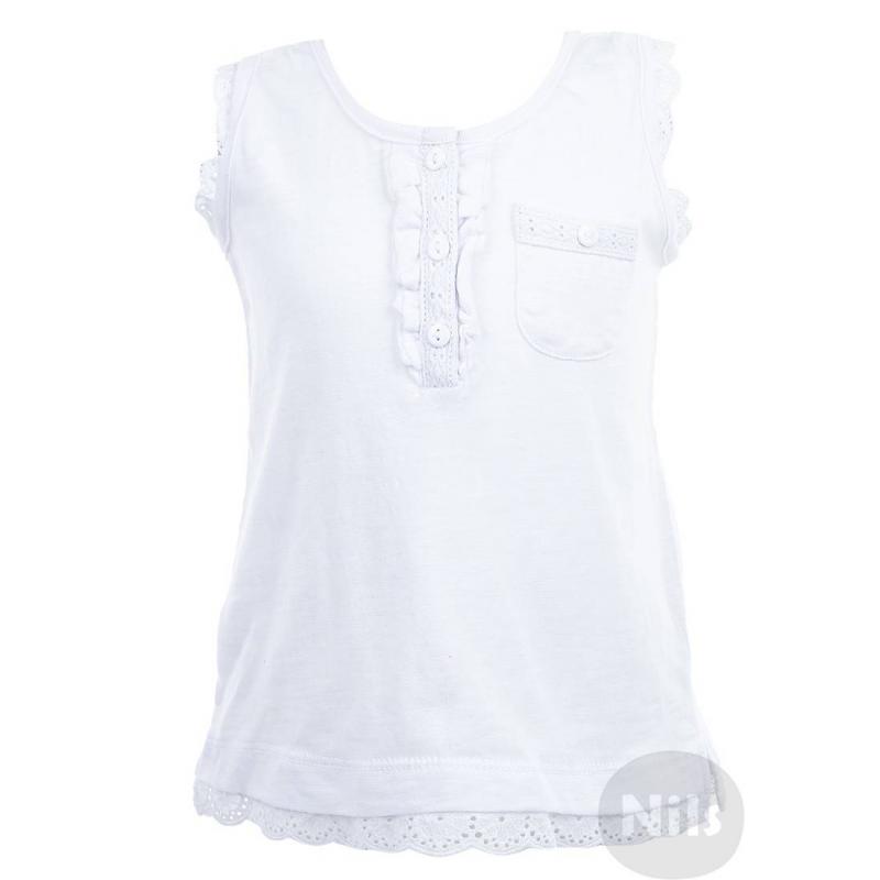МайкаБелая майка марки BIMBALINA для девочек. Нарядная маечка с нагрудным кармашком выполнена из стопроцентного хлопкового трикотажа и украшена кружевом. Застегивается на три пуговицы у ворота.<br><br>Размер: 3 года<br>Цвет: Белый<br>Рост: 98<br>Пол: Для девочки<br>Артикул: 606759<br>Страна производитель: Китай<br>Сезон: Весна/Лето<br>Состав: 100% Хлопок<br>Бренд: Испания