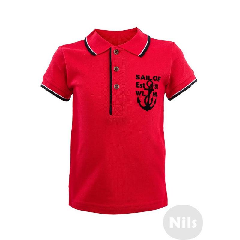 Рубашка-полоРубашка-поло красного цветас коротким рукавом марки WOOLOO MOOLOO для мальчиков. Рубашка-поло с бархатистым принтом на грудивыполнена из стопроцентного хлопкового трикотажа пике. Застегивается на три пуговицы у ворота. На спинке стильная нашивка с принтом в морском стиле.<br><br>Размер: 18 месяцев<br>Цвет: Красный<br>Рост: 86<br>Пол: Для мальчика<br>Артикул: 606651<br>Страна производитель: Китай<br>Сезон: Весна/Лето<br>Состав: 100% Хлопок<br>Бренд: Испания