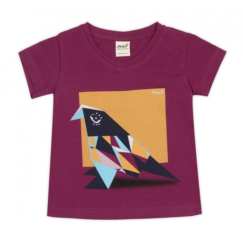 ФутболкаФутболка сливовогоцвета марки Ёмаё для девочек.<br>Стильная футболка с коротким рукавом и V-образным вырезом горловинывыполнена из хлопкового трикотажа с добавлением эластана. Футболка декорирована оригинальным принтом с изображением оригами-птички, а также логотипом бренда.<br><br>Размер: 7 лет<br>Цвет: Сливовый<br>Рост: 122<br>Пол: Для девочки<br>Артикул: 649998<br>Страна производитель: Россия<br>Сезон: Весна/Лето<br>Состав: 92% Хлопок, 8% Эластан<br>Бренд: Россия