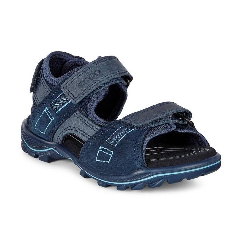 СандалииСандалии синегоцвета марки ECCO для мальчиков.<br>Стильные сандалии выгодно подчеркнуты вставками темно-синего цвета и контрастной строчкой, а также дополнены тремя застежками на липучках. Модель, выполненная из промасленного нубука и замши, легко надевается и позволяет регулировать размер. Легкая, гибкая литая полиуретановая подошва обеспечивает длительный амортизирующий эффект, делая обувь идеальной для повседневной ходьбы. Дышащая текстильная подкладка поддерживает оптимальный микроклимат.<br><br>Размер: 34<br>Цвет: Синий<br>Пол: Для мальчика<br>Артикул: 675298<br>Страна производитель: Индонезия<br>Сезон: Весна/Лето<br>Материал верха: Натуральная кожа/Текстиль<br>Материал подкладки: Текстиль<br>Материал стельки: ЭВА (каучук)/Микрофибра<br>Материал подошвы: Полиуретан<br>Бренд: Дания