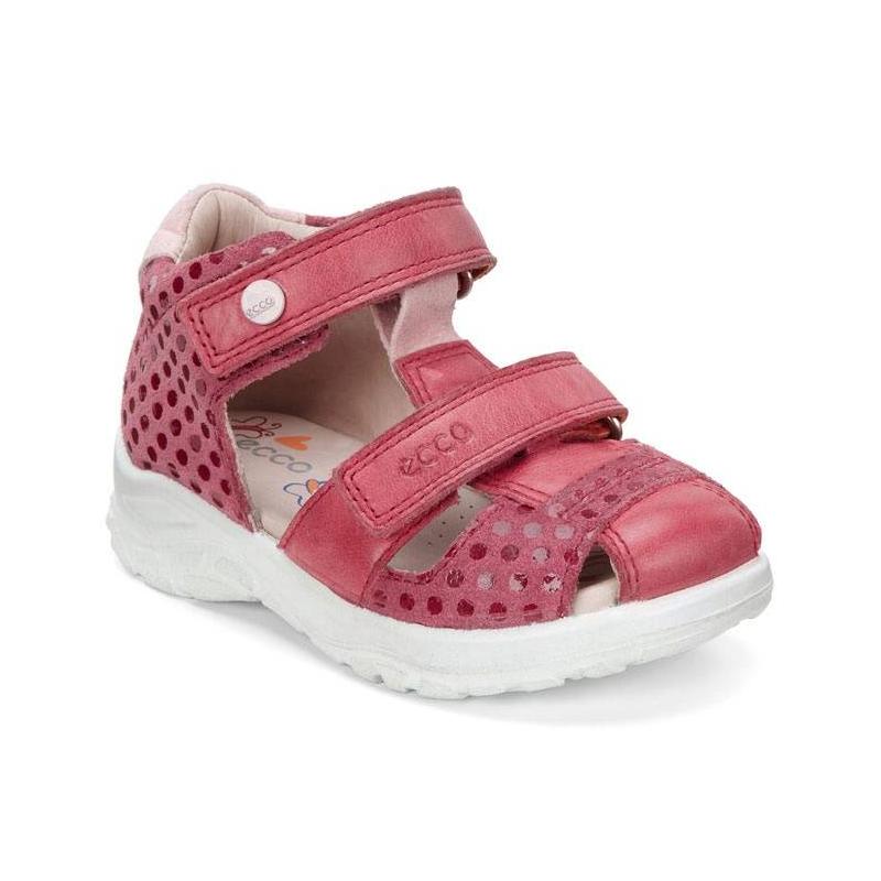 СандалииСандалиималиновогоцвета марки ECCO для девочек.<br>Стильные сандалии Fisherman выполнены из натуральной кожи и украшены выбитым узором, а также выгодно подчеркнуты подошвой белого цвета. Модель дополнена застежками на липучках, которые облегчают надевание и позволяют регулировать размер. Мягкие сандалии, плотно прилегающие к стопе, имеют кожаную подкладку для повышения комфорта, позволяющую стопам дышать. Легкая, гибкая литая полиуретановая подошва обеспечивает продолжительный амортизирующий эффект и подходит для повседневной ходьбы.<br><br>Размер: 23<br>Цвет: Малиновый<br>Пол: Для девочки<br>Артикул: 675410<br>Бренд: Дания<br>Страна производитель: Индонезия<br>Сезон: Весна/Лето<br>Материал верха: Натуральная кожа<br>Материал подкладки: Натуральная кожа<br>Материал стельки: ЭВА (каучук)/Натуральная кожа<br>Материал подошвы: Полиуретан
