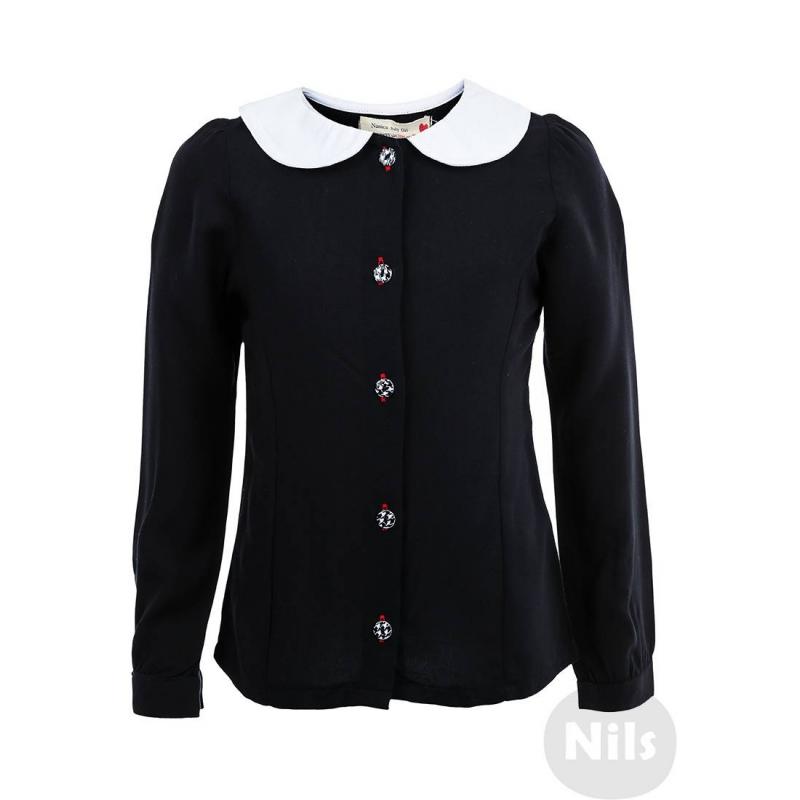 РубашкаЧерная рубашка из вискозы марки NANICA для девочек. Рубашка с контрастным белым воротничком выполнена из натурального материала (вискоза), воротничок из хлопка. Рубашка застегивается на пуговицы с узором гусиная лапка.<br><br>Размер: 8 лет<br>Цвет: Черный<br>Рост: 128<br>Пол: Для девочки<br>Артикул: 606088<br>Страна производитель: Турция<br>Сезон: Всесезонный<br>Состав: 100% Вискоза<br>Бренд: Турция