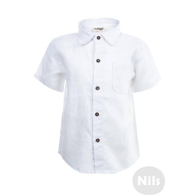 РубашкаБелая льняная рубашка с коротким рукавом марки WOOLOO MOOLOO для мальчиков. Рубашка классического кроя с нагрудным кармашком выполнена из натурального льна. Застегивается на пуговицы.<br><br>Размер: 5 лет<br>Цвет: Белый<br>Рост: 110<br>Пол: Для мальчика<br>Артикул: 606095<br>Страна производитель: Китай<br>Сезон: Весна/Лето<br>Состав: 100% Лен<br>Бренд: Испания