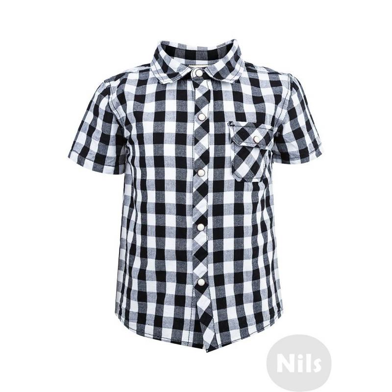 РубашкаРубашка в черную клетку с коротким рукавом марки WOOLOO MOOLOO для мальчиков. Рубашка с нагрудным кармашком выполнена из стопроцентного хлопка и украшена принтом в морском стиле на спинке. Застегивается на кнопки.<br><br>Размер: 18 месяцев<br>Цвет: Черный<br>Рост: 86<br>Пол: Для мальчика<br>Артикул: 606133<br>Страна производитель: Китай<br>Сезон: Весна/Лето<br>Состав: 100% Хлопок<br>Бренд: Испания