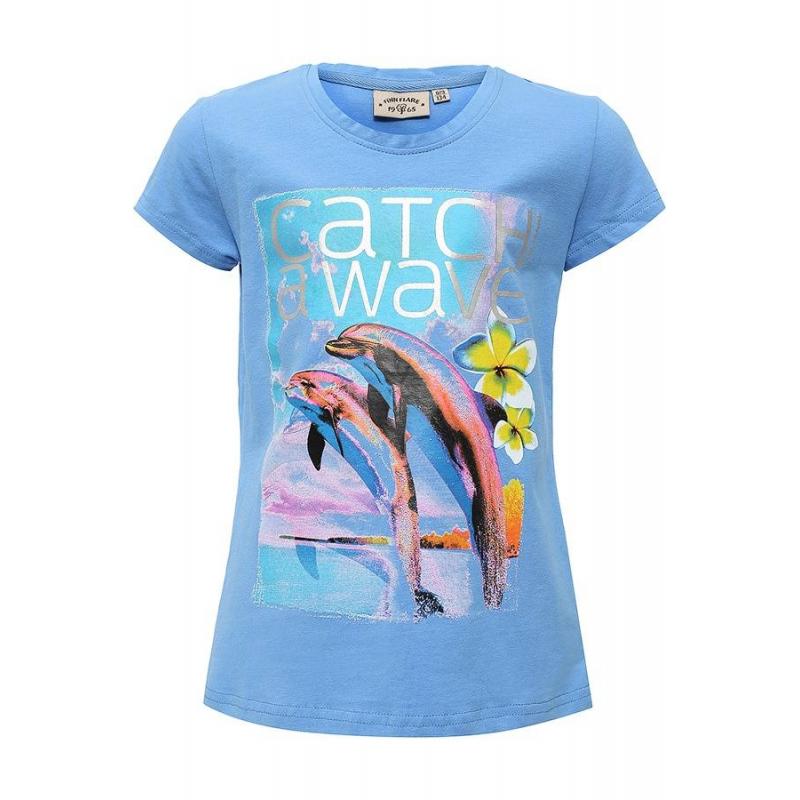 ФутболкаФутболка голубого цвета маркиFinn Flare длядевочек.<br>Хлопковая футболка с добавлением эластана украшена блестящей надписью, а также стильным принтом с изображением цветов и ярких дельфинов на фоне берега.<br><br>Размер: 7 лет<br>Цвет: Голубой<br>Рост: 122<br>Пол: Для девочки<br>Артикул: 676063<br>Страна производитель: Бангладеш<br>Сезон: Весна/Лето<br>Состав: 95% Хлопок, 5% Эластан<br>Бренд: Финляндия