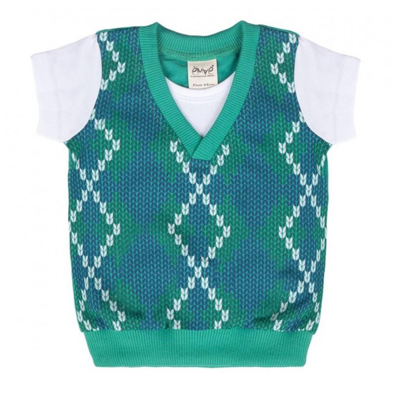 ФутболкаФутболка зеленого цвета марки ЁМАЁ для мальчиков.<br>Футболка с коротким рукавом выполнена из чистого хлопкаидекорирована принтом, имитирующим крупную вязку, благодаря чемуфутболка выглядит как комплект с жилеткой. На спинке вставка из хлопковой ткани пике.<br><br>Размер: 3 месяца<br>Цвет: Зеленый<br>Рост: 62<br>Пол: Для мальчика<br>Артикул: 700050<br>Страна производитель: Россия<br>Сезон: Всесезонный<br>Состав: 100% Хлопок<br>Бренд: Россия