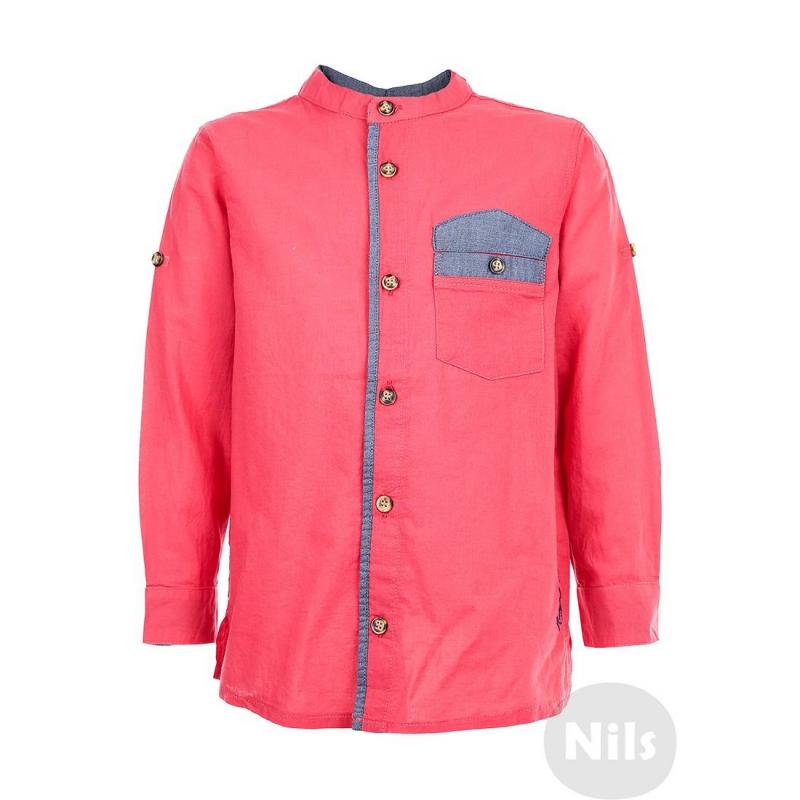 РубашкаКраснаярубашка марки NANICA для мальчиков. Рубашка с воротничком-стойкой и нагрудным кармашком выполнена из тонкого стопроцентного хлопка. Рубашка украшена контрастной отделкой голубого цвета. Длинные рукава можно подворачивать. Рубашка застегивается на пуговицы.<br><br>Размер: 6 лет<br>Цвет: Красный<br>Рост: 116<br>Пол: Для мальчика<br>Артикул: 606022<br>Страна производитель: Турция<br>Сезон: Весна/Лето<br>Состав: 100% Хлопок<br>Бренд: Турция