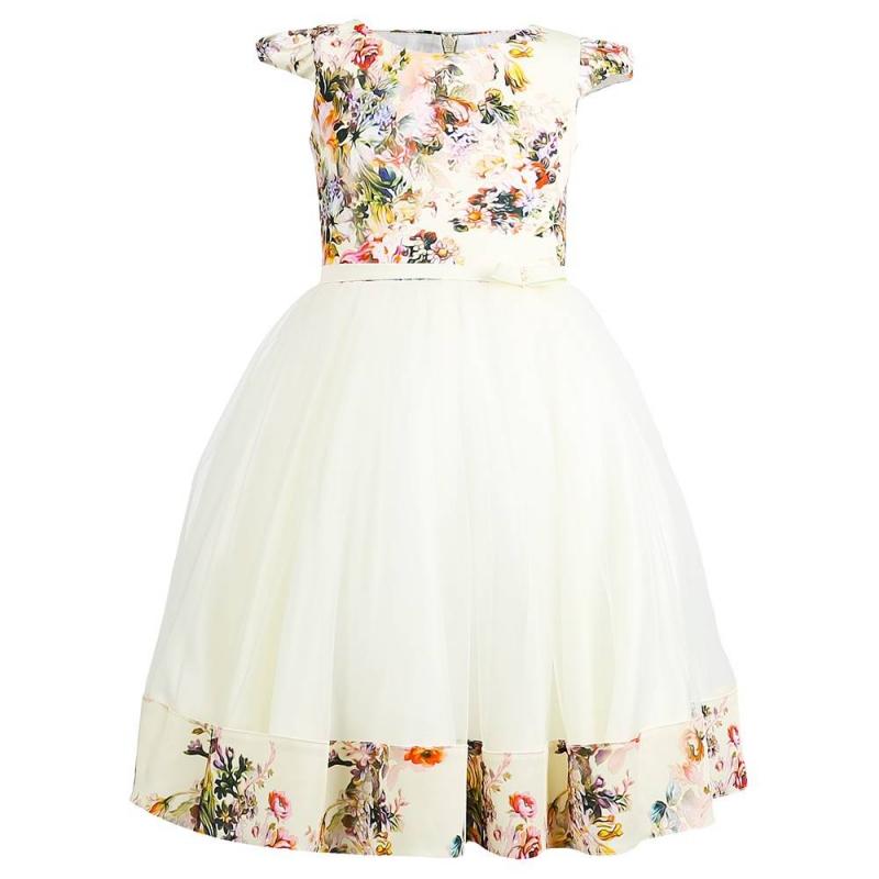ПлатьеПлатье молочногоцвета марки Fansy Way.<br>Нарядноеплатье с плечиками выполненоиз мягкой ткани, дополнено подъюбником из фатина и хлопковой подкладкой.Пышная многослойная юбочкадекорированаполупрозрачным фатином.Топ с широкими бретелями и подол платья украшеныатласной тканью с цветочным принтом. На талии имеется пояс с очаровательным бантиком и жемчужными бусинками. Платье застегивается на потайную молнию, а также шнуровку на спине.<br><br>Размер: 9 лет<br>Цвет: Бежевый<br>Рост: 134<br>Пол: Для девочки<br>Артикул: 649681<br>Страна производитель: Россия<br>Сезон: Всесезонный<br>Состав: 100% Полиэстер<br>Состав подкладки: 100% Хлопок<br>Бренд: Россия<br>Вид застежки: Молния
