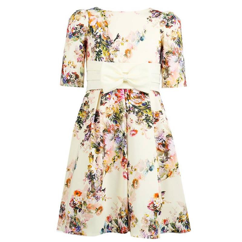 ПлатьеПлатье молочногоцвета марки Fansy Way.<br>Праздничное атласноеплатье с коротким рукавомимеет пышнуюплиссированную юбку, дополнено подъюбником из фатина и хлопковой подкладкой. Платье декорировано цветочным принтом и широкимпоясом с объёмным бантом на талии. Платье застегивается на потайную молнию и шнуровку на спинке.<br><br>Размер: 6 лет<br>Цвет: Бежевый<br>Рост: 116<br>Пол: Для девочки<br>Артикул: 649670<br>Страна производитель: Россия<br>Сезон: Всесезонный<br>Состав: 100% Полиэстер<br>Состав подкладки: 100% Хлопок<br>Бренд: Россия<br>Вид застежки: Молния