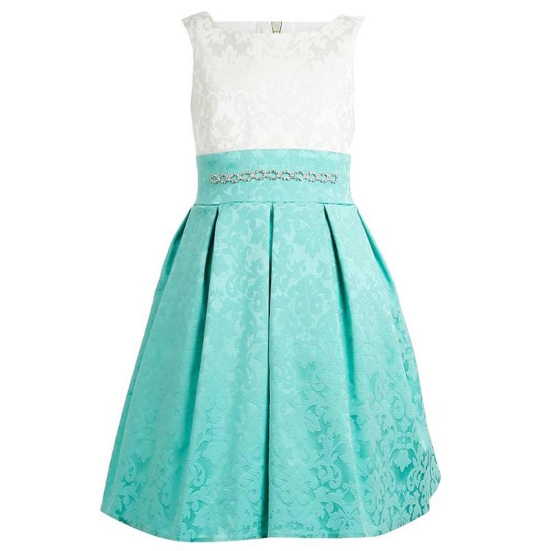 ПлатьеПлатье бирюзовогоцвета марки Fansy Way.<br>Праздничное жаккардовое платье на широких бретеляхимеет пышнуюплиссированную юбку, дополнено подъюбником из фатина и хлопковой подкладкой. Модельдекорирована витиеватымузором и стразами. Платье застегивается на потайную молнию и шнуровку на спинке.<br><br>Размер: 11 лет<br>Цвет: Бирюзовый<br>Рост: 146<br>Пол: Для девочки<br>Артикул: 677021<br>Страна производитель: Россия<br>Сезон: Всесезонный<br>Состав: 60% Хлопок, 25% Полиамид, 15% Эластан<br>Бренд: Россия<br>Вид застежки: Молния