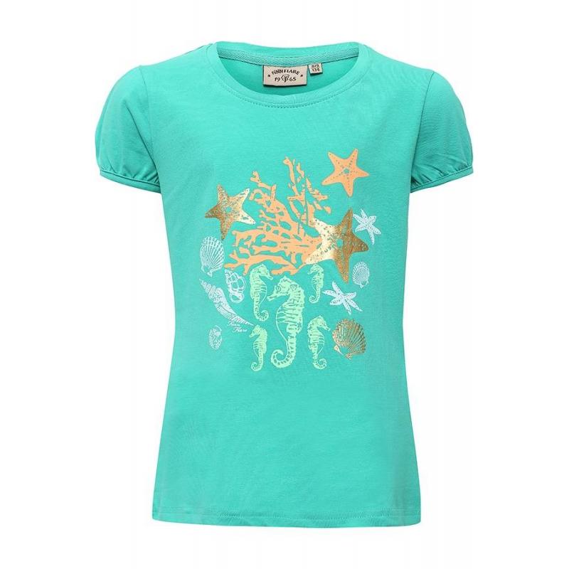 ФутболкаФутболка зелёногоцвета маркиFinn Flare для девочек.<br>Стильная футболка с рукавами-фонариками выполнена из хлопка с добавлением эластана. Модель украшена принтом в морском стиле.<br><br>Размер: 5 лет<br>Цвет: Зеленый<br>Рост: 110<br>Пол: Для девочки<br>Артикул: 676095<br>Страна производитель: Бангладеш<br>Сезон: Весна/Лето<br>Состав: 95% Хлопок, 5% Эластан<br>Бренд: Финляндия