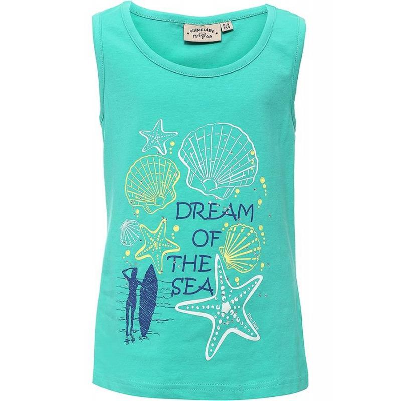 МайкаМайка зеленогоцвета маркиFinn Flare для девочек.<br>Стильная майка выполнена из хлопка с добавлением эластана. Модель украшена надписями, стразами, а также принтом с изображением ракушек, морских звезд и девушки с доской для серфинга.<br><br>Размер: 9 лет<br>Цвет: Зеленый<br>Рост: 134<br>Пол: Для девочки<br>Артикул: 676141<br>Страна производитель: Бангладеш<br>Сезон: Весна/Лето<br>Состав: 95% Хлопок, 5% Эластан<br>Бренд: Финляндия