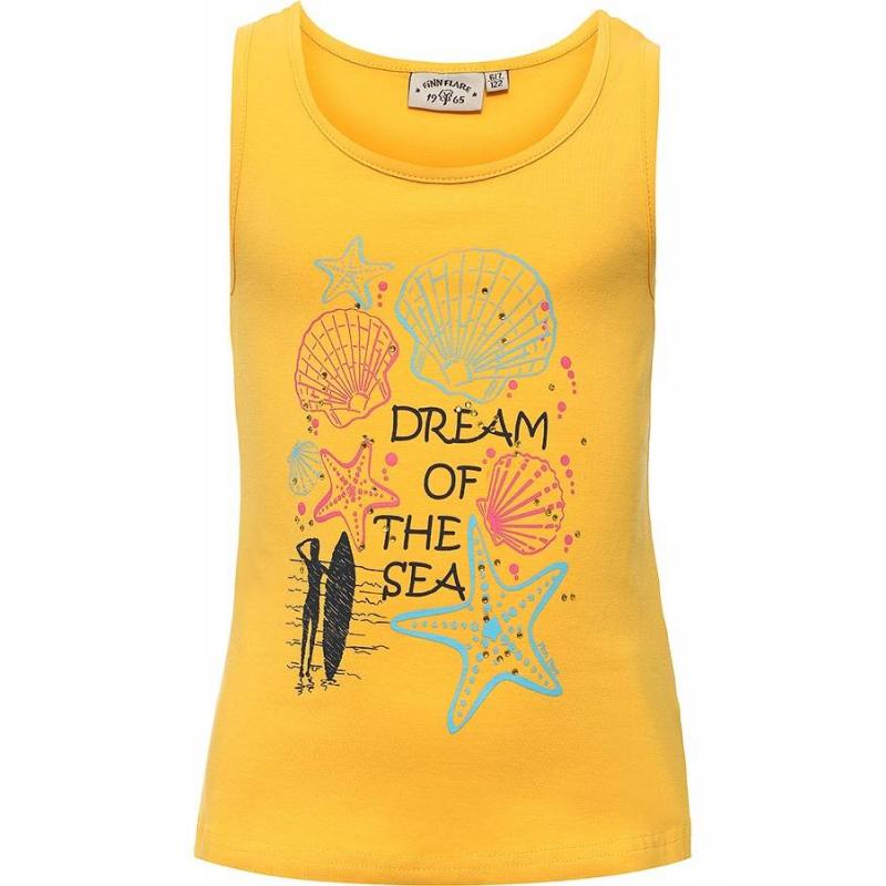 МайкаМайка желтогоцвета маркиFinn Flare для девочек.<br>Стильная майка выполнена из хлопка с добавлением эластана. Модель украшена надписями, стразами, а также принтом с изображением ракушек, морских звезд и девушки с доской для серфинга.<br><br>Размер: 13 лет<br>Цвет: Желтый<br>Рост: 158<br>Пол: Для девочки<br>Артикул: 676140<br>Страна производитель: Бангладеш<br>Сезон: Весна/Лето<br>Состав: 95% Хлопок, 5% Эластан<br>Бренд: Финляндия