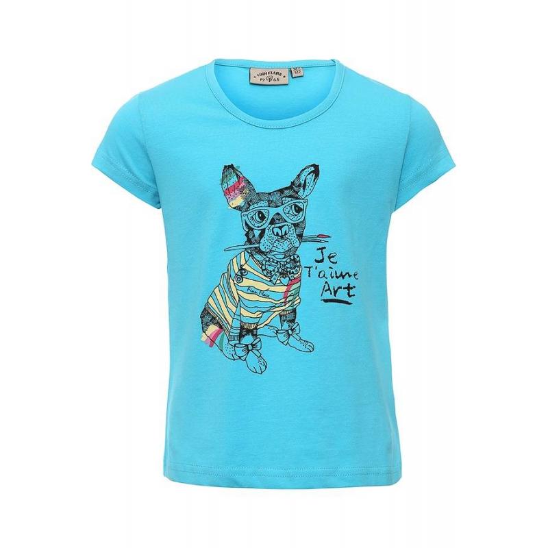 ФутболкаФутболкаголубогоцвета маркиFinn Flare для девочек.<br>Яркая футболка с коротким рукавомвыполнена из хлопка с добавлением эластана и декорирована красочным принтом с изображением собаки.<br><br>Размер: 7 лет<br>Цвет: Голубой<br>Рост: 122<br>Пол: Для девочки<br>Артикул: 676003<br>Страна производитель: Бангладеш<br>Сезон: Весна/Лето<br>Состав: 95% Хлопок, 5% Эластан<br>Бренд: Финляндия