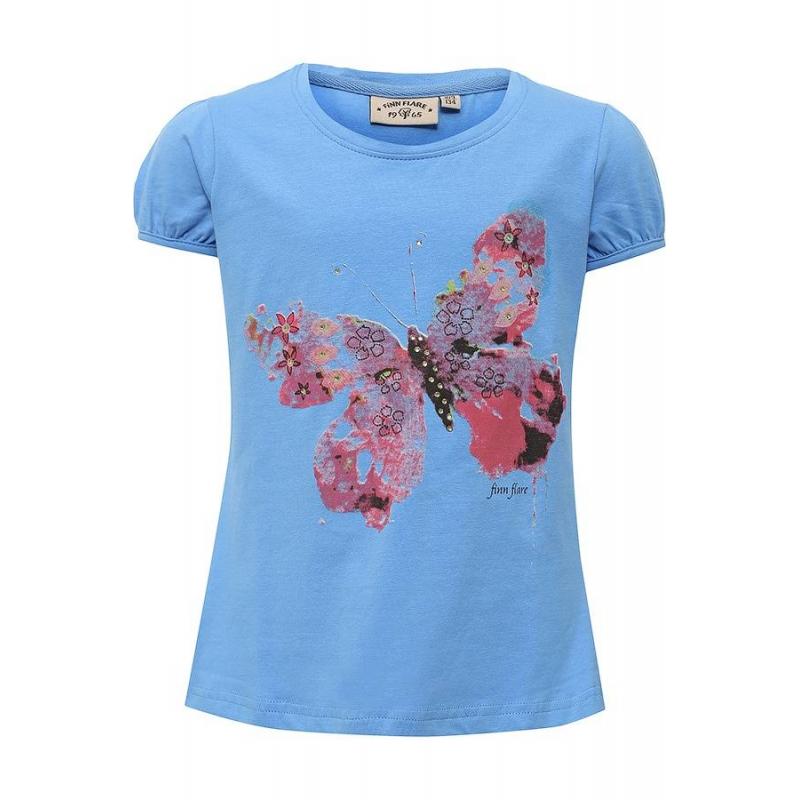 ФутболкаФутболка синегоцвета маркиFinn Flare для девочек.<br>Стильная футболка с рукавами-фонариками выполнена из хлопка с добавлением эластана. Модель украшенастразами и принтом с изображением бабочки.<br><br>Размер: 7 лет<br>Цвет: Синий<br>Рост: 122<br>Пол: Для девочки<br>Артикул: 676048<br>Бренд: Финляндия<br>Страна производитель: Бангладеш<br>Сезон: Весна/Лето<br>Состав: 95% Хлопок, 5% Эластан
