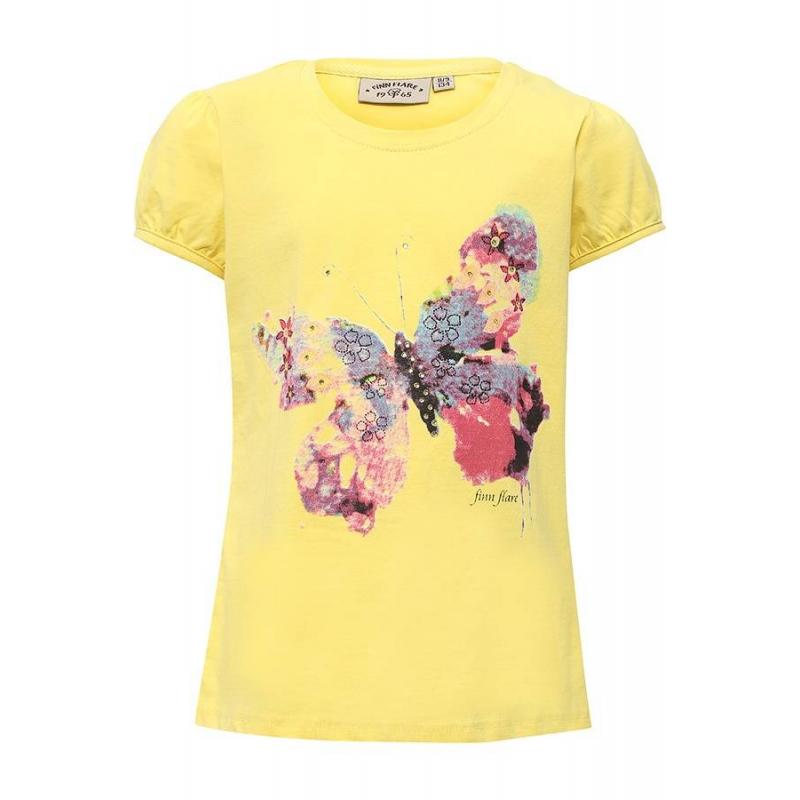 ФутболкаФутболка жёлтогоцвета маркиFinn Flare для девочек.<br>Стильная футболка с рукавами-фонариками выполнена из хлопка с добавлением эластана. Модель украшенастразами и принтом с изображением бабочки.<br><br>Размер: 7 лет<br>Цвет: Желтый<br>Рост: 122<br>Пол: Для девочки<br>Артикул: 676050<br>Бренд: Финляндия<br>Страна производитель: Бангладеш<br>Сезон: Весна/Лето<br>Состав: 95% Хлопок, 5% Эластан