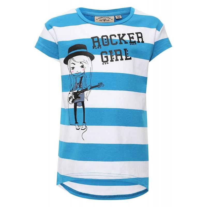 ФутболкаФутболка голубогоцвета маркиFinn Flare для девочек.<br>Стильная футболка с коротким рукавом выполнена из хлопка с добавлением эластана. Модель декорирована полосками белого цвета, а также украшена надписью, стразами и принтом с изображением девочки с гитарой.<br><br>Размер: 5 лет<br>Цвет: Голубой<br>Рост: 110<br>Пол: Для девочки<br>Артикул: 676072<br>Страна производитель: Бангладеш<br>Сезон: Весна/Лето<br>Состав: 95% Хлопок, 5% Эластан<br>Бренд: Финляндия