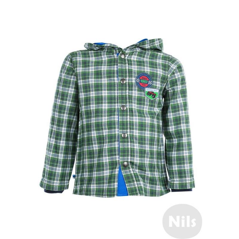РубашкаЗеленая клетчатая рубашка с капюшоном марки WOJCIK для мальчиков. Рубашка на кнопках выполнена из стопроцентного хлопка, на рукавах есть внутренние трикотажные манжеты. Рубашка украшена стильными нашивками на груди и принтом на спине.<br><br>Размер: 3 года<br>Цвет: Зеленый<br>Рост: 98<br>Пол: Для мальчика<br>Артикул: 606131<br>Страна производитель: Польша<br>Сезон: Всесезонный<br>Состав: 100% Хлопок<br>Бренд: Польша