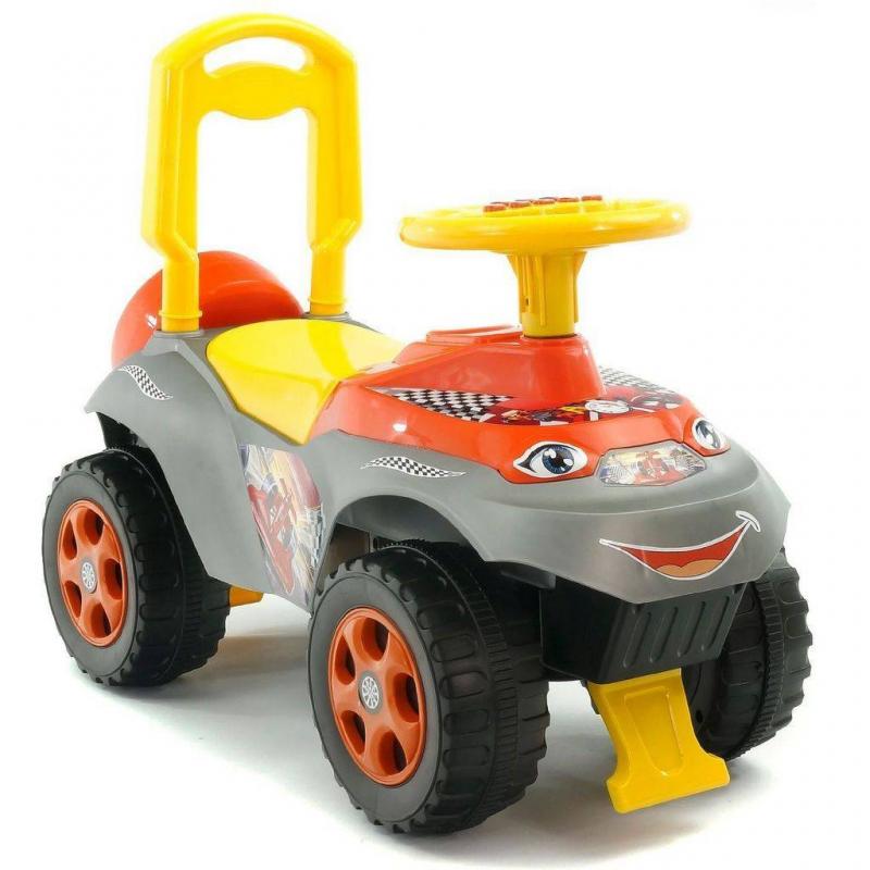 Каталка Автошка Formula с музыкальным рулемКаталка Автошка Formula с музыкальным рулем оранжевогоцвета марки RT.<br>Четырехколесная яркая машинка познакомит ребенка с правилами дорожного движения. В этом поможет руль с разными кнопками, на которых располагаются правила. При нажатии на них ребенок услышит детский голос, который расскажет о ПДД и познакомит с различными звуками, связанными с автомобилем. Каталку можно использовать как на прогулке, так и в домашних условиях.<br>Модель оснащена удобным сиденьем, корпус безопасен и полностью защищен от опрокидывания. Ребенок с легкостью будет отталкиваться и ехать, держась за удобный руль, который связан с передней осью. Каталка выполнена из прочного пластика и имеет устойчивые колеса, которые обеспечивают хорошую проходимость. А для любимых игрушек предусмотрен небольшой багажник.<br>Размеризделия: 62х28х37 см.<br>Размер упаковки: 62х37,5х29 см.<br>Максимальная нагрузка: 25 кг.<br>Вес изделия: 1,8 кг.<br><br>Цвет: Оранжевый<br>Возраст от: 10 месяцев<br>Пол: Для мальчика<br>Артикул: 650583<br>Страна производитель: Китай<br>Бренд: Россия<br>Размер: от 10 месяцев