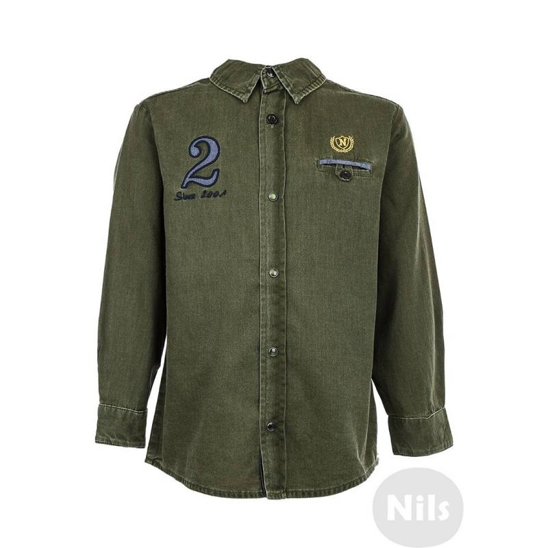 РубашкаДжинсовая рубашка защитного цвета марки NANICA для мальчиков. Рубашка на кнопках с нагрудным карманом выполнена из стопроцентного хлопка, украшена вышивками на груди. Спинка декорирована вставками из материала синего цвета, а также принтом.<br><br>Размер: 6 лет<br>Цвет: Хаки<br>Рост: 116<br>Пол: Для мальчика<br>Артикул: 606046<br>Страна производитель: Турция<br>Сезон: Всесезонный<br>Состав: 100% Хлопок<br>Бренд: Турция