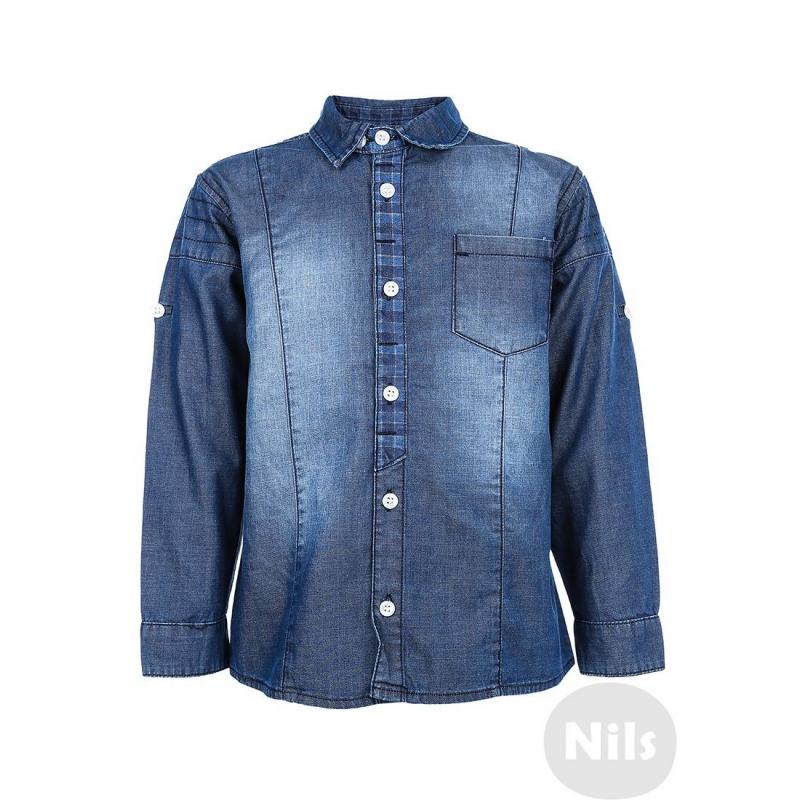 РубашкаДжинсовая рубашка синегоцвета марки NANICA для мальчиков. Рубашка выполнена из двухстороннего хлопкового материала, изнаночная сторона в клеточку. Есть нагрудный кармашек и легкий эффект потертости. Рукава можно подворачивать.<br><br>Размер: 4 года<br>Цвет: Синий<br>Рост: 104<br>Пол: Для мальчика<br>Артикул: 606054<br>Страна производитель: Турция<br>Сезон: Всесезонный<br>Состав: 100% Хлопок<br>Бренд: Турция