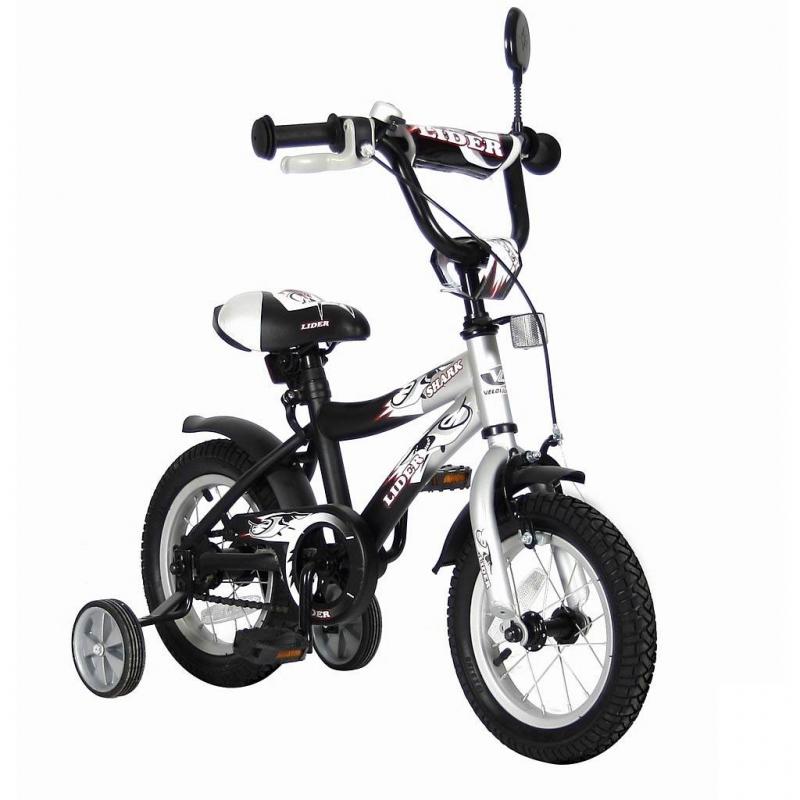 Велосипед двухколесный Lider Shark 12Велосипед двухколесный Lider Shark 12 серого цвета маркиVELOLIDER.<br>Высококачественный велосипед имеет революционную систему торможения Быстрый тормоз. Создан специально для детей, которым теперь не придется тянуться и с трудом нажимать на тугой тормоз. Теперь и малыши с их маленькими ручками, и взрослые дети смогут затормозить за 1 секунду.<br>Удобные резиновые ручки с ограничителем на концах - рука ребенка будет защищена от ударов. Широкое сиденье с небольшим бортиком сзади. Подседельные эксцентрики - это полноценные прочные стальные эксцентрики. Для того, чтобы изменить высоту сиденья, инструменты не нужны. Это очень удобно. Стальные заднее и переднее крыло. Очень надежные тренировочные боковые колеса. Передний светоотражатель над рулевой колонкой, задний - под сиденьем. На спицах переднего и заднего колес - большие светоотражатели.<br>Модель имеет широкое седло, звонок, зеркало на гибкой ножке, стальную защиту цепи.<br>В комплекте: дополнительные колеса, инструмент для сборки велосипеда.<br>Максимальная нагрузка: не более 40 кг при росте 96-104 см. Регулировка седла от 49 до 58 см.<br>Диаметр колес: 12;<br>Рама: сталь;<br>Втулка передняя/задняя: SHUNFENG;<br>Тормоз: передний, ручной клещевой;<br>Задний тормоз: ножной;<br>Покрышки: YIDA 12х2,125;<br>Вилка передняя: сталь жесткая;<br>Багажник: сталь;<br>Подножка: сталь;<br>Рулевая колонка: сталь;<br>Шатуны: квадрат, сталь;<br>Обода: сталь, цветные;<br>Количество скоростей: 1;<br>Размер изделия: 90х70х40 см;<br>Вес: 8 кг;<br>Размер упаковки: 75х170х37 кг.<br><br>Цвет: Серый<br>Возраст от: 3 года<br>Пол: Не указан<br>Артикул: 650632<br>Страна производитель: Китай<br>Бренд: Франция<br>Размер: от 3 лет