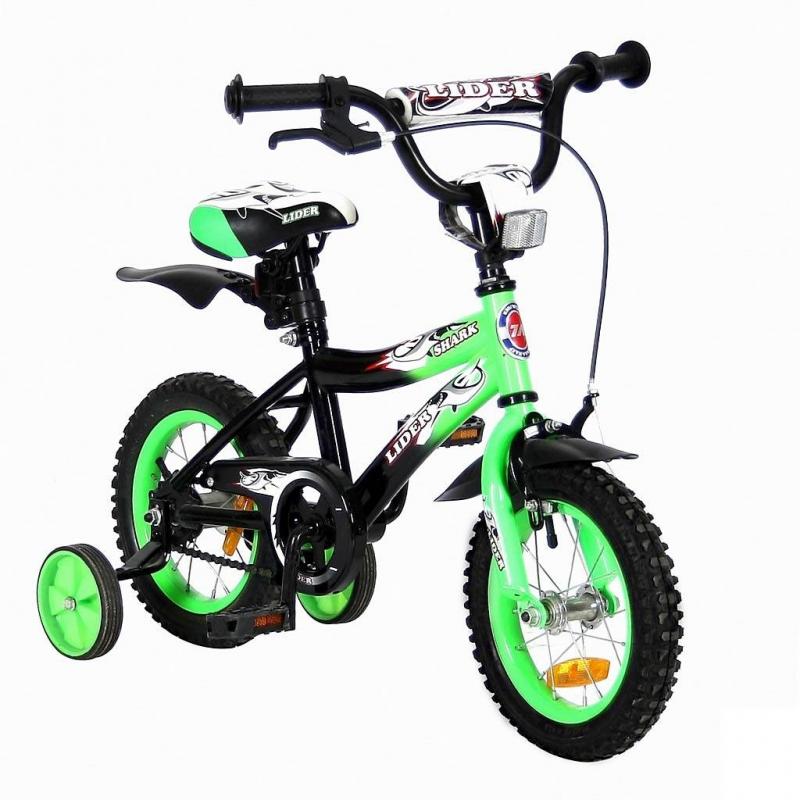 Велосипед двухколесный Lider Shark 12Велосипед двухколесный Lider Shark 12 зеленого цвета марки VELOLIDER.<br>Высококачественный велосипед имеет революционную систему торможения Быстрый тормоз. Создан специально для детей, которым теперь не придется тянуться и с трудом нажимать на тугой тормоз. Теперь и малыши с их маленькими ручками, и взрослые дети смогут затормозить за 1 секунду.<br>Удобные резиновые ручки с ограничителем на концах - рука ребенка будет защищена от ударов. Широкое сиденье с небольшим бортиком сзади. Подседельные эксцентрики - это полноценные прочные стальные эксцентрики. Для того, чтобы изменить высоту сиденья, инструменты не нужны. Это очень удобно. Стальные заднее и переднее крыло. Очень надежные тренировочные боковые колеса. Передний светоотражатель над рулевой колонкой, задний - под сиденьем. На спицах переднего и заднего колес - большие светоотражатели.<br>Модель имеет широкое седло, звонок, зеркало на гибкой ножке, стальную защиту цепи.<br>В комплекте: дополнительные колеса, инструмент для сборки велосипеда.<br>Максимальная нагрузка: не более 40 кг при росте 96-104 см. Регулировка седла от 49 до 58 см.<br>Диаметр колес: 12;<br>Рама: сталь;<br>Втулка передняя/задняя: SHUNFENG;<br>Тормоз: передний, ручной клещевой;<br>Задний тормоз: ножной;<br>Покрышки: YIDA 12х2,125;<br>Вилка передняя: сталь жесткая;<br>Багажник: сталь;<br>Подножка: сталь;<br>Рулевая колонка: сталь;<br>Шатуны: квадрат, сталь;<br>Обода: сталь, цветные;<br>Количество скоростей: 1;<br>Размер изделия: 90х70х40 см;<br>Вес: 8 кг;<br>Размер упаковки: 75х170х37 кг.<br><br>Цвет: Зеленый<br>Возраст от: 3 года<br>Пол: Не указан<br>Артикул: 650636<br>Страна производитель: Китай<br>Бренд: Франция<br>Размер: от 3 лет