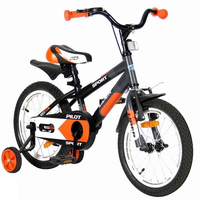 Велосипед двухколесный Lider Pilot 16Велосипед двухколесный Lider Pilot 16 оранжевого цвета марки VELOLIDER.<br>Высококачественный велосипед выполнен в матовой покраске по самым современным технологиям. Модель имеет удобные резиновые ручки с ограничителем на концах, благодаря которому рука ребенка будет защищена от ударов. Широкое анатомическое сиденье с 2-мя выпуклостями сзади. Велосипед имеет стальные подседельные эксцентрики, полноценные и прочные.<br>Для того, чтобы изменить высоту сиденья, инструменты не нужны - это очень удобно. Очень надежные тренировочные боковые колеса и высокий эргономичный руль с высококачественным выносом. Изящные стальные крылья необычной формы. Пластиковая защита цепи.<br>Велосипед дополнен передним светоотражателем над рулевой колонкой, задним - под сиденьем, а также большими светоотражателями на спицах переднего и заднего колес.<br>В комплекте: звонок, дополнительные колеса, инструмент для сборки велосипеда.<br>Максимальная нагрузка: не более 40 кг при росте 108-116 см. Регулировка седла от 55 до 63,5 см.<br>Диаметр колес: 16;<br>Рама: сталь;<br>Вилка передняя: сталь жесткая;<br>Втулка передняя/задняя: SHUNFENG;<br>Тормоз передний: ручной V-brake. Задний: ножной;<br>Покрышки: XIEHE 16х2,125;<br>Крылья: сталь;<br>Педали: пластик;<br>Подножка: сталь;<br>Количество скоростей: 1;<br>Рулевая колонка: сталь;<br>Шатуны: квадрат, сталь;<br>Обода: хромированная сталь;<br>Размер изделия: 115х80х40см;<br>Вес: 10,2кг;<br>Размер упаковки: 96х170х43см.<br><br>Цвет: Оранжевый<br>Возраст от: 4 года<br>Пол: Не указан<br>Артикул: 650656<br>Страна производитель: Китай<br>Бренд: Франция<br>Размер: от 4 лет