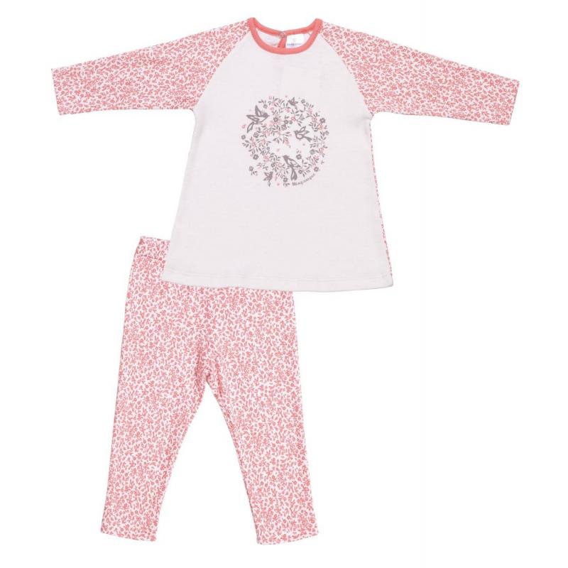 КомплектКомплект футболка с длинным рукавом+леггинсы коралловогоцвета марки Мамуляндия для девочек.<br>Комплектвыполнен из чистого хлопка и декорирован нежным принтом с птичками. Футболка застегивается на кпопку для удобства переодевания малышки. Леггинсы дополнены удобной широкой резинкой на поясе.<br><br>Размер: 12 месяцев<br>Цвет: Коралловый<br>Рост: 80<br>Пол: Для девочки<br>Артикул: 676880<br>Страна производитель: Россия<br>Сезон: Весна/Лето<br>Состав: 100% Хлопок<br>Бренд: Россия<br>Вид застежки: Кнопки
