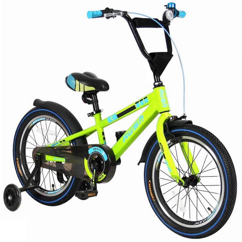 Велосипед двухколесный Rush Sport 18Велосипед двухколесный Rush Sport 18 зеленого цвета марки VELOLIDER.<br>Высококачественный велосипед выполнен в матовой покраске по самым современным технологиям. Модель с дополнительными легкими, тонкими и прозрачными колесами из полиуретана, они надежны и устойчивы. Велосипед имеет удобные резиновые ручки из формованной двухслойной цветной резины с ограничителем на концах, благодаря которому рука ребенка будет защищена от ударов.<br>Широкое анатомическое сиденье с 2-мя выпуклостями сзади и пластиковым бортиком для поддержки. Модель имеет стальные подседельные эксцентрики, полноценные и прочные. Для того, чтобы изменить высоту сиденья, инструменты не нужны - это очень удобно. Очень высокий эргономичный руль с высококачественным выносом. Изящные стальные крылья необычной формы.<br>Велосипед дополнен передним светоотражателем на руле, задним – под сиденьем, а также большими светоотражателями на спицах переднего и заднего колес. Пластиковая защита цепи. На руле есть стильный декоративный элемент из ткани с карманом-сеткой для бутылки или телефона.<br>В комплекте: звонок, мягкие полипропиленовые колеса, инструмент для сборки велосипеда.<br>Максимальная нагрузка: не более 50 кг при росте 114-122см. Регулировка седла от 58 до 62 см.<br>Диаметр колес: 18;<br>Рама: сталь;<br>Вилка передняя: сталь жесткая;<br>Втулка передняя/задняя: QUANDO;<br>Тормоз передний: ручной клещевой. Задний: ножной;<br>Покрышки: YIDA 18?2.125;<br>Крылья: сталь;<br>Педали: пластик;<br>Количество скоростей: 1;<br>Рулевая колонка: сталь;<br>Шатуны: квадрат, сталь;<br>Обода широкие, двойные: алюминий;<br>Размер изделия: 120х85х40 см;<br>Вес: 15 кг;<br>Размер упаковки: 102х180х48 см.<br><br>Цвет: Зеленый<br>Возраст от: 4 года<br>Пол: Не указан<br>Артикул: 650661<br>Страна производитель: Китай<br>Бренд: Франция<br>Размер: от 4 лет