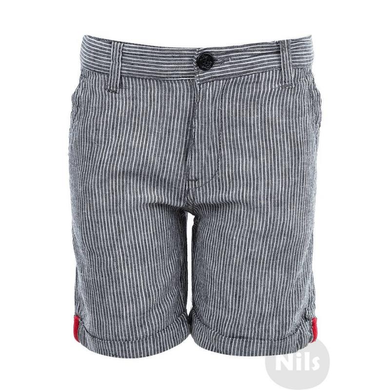 ШортыСерые шорты в полоску марки WOOLOO MOOLOO для мальчиков. Шорты с карманами и отворотами выполнены из хлопка и льна, застегиваются на молнию и пуговицу. Пояс регулируется специальными пуговицами на внутренней стороне.<br><br>Размер: 5 лет<br>Цвет: Серый<br>Рост: 110<br>Пол: Для мальчика<br>Артикул: 607081<br>Страна производитель: Китай<br>Сезон: Весна/Лето<br>Состав: 50% Лен, 50% Хлопок<br>Бренд: Испания