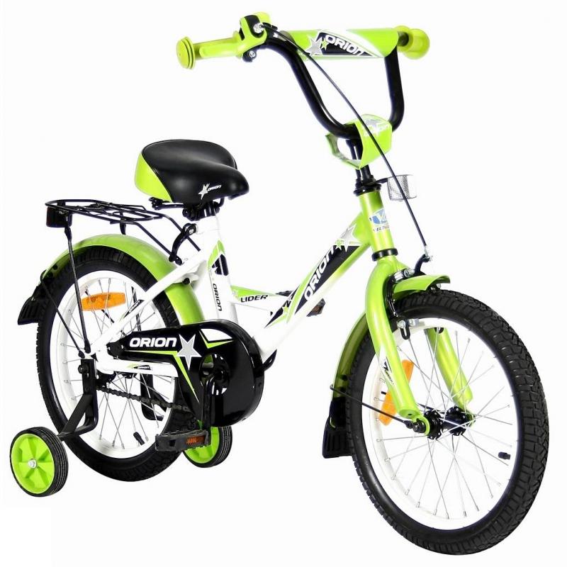 Велосипед двухколесный Lider Orion 16Велосипед двухколесный Lider Orion 16 зеленого цвета марки VELOLIDER.<br>Высококачественный велосипед имеет революционную систему торможения Быстрый тормоз. Детям теперь не придется тянуться и с трудом нажимать на тугой тормоз. Теперь и малыши с их маленькими ручками, и взрослые дети смогут затормозить за 1 секунду!<br>Удобные резиновые ручки с ограничителем на концах, благодаря которому рука ребенка будет защищена от ударов. Широкое анатомическое сиденье с небольшим бортиком сзади и 2-мя подседельными амортизаторами. Модель имеет стальные подседельные эксцентрики, полноценные и прочные. Для того, чтобы изменить высоту сиденья, инструменты не нужны, это очень удобно. Идеальный классический багажник дополнен задним светоотражателем.<br>Очень надежные тренировочные боковые колеса и высокий эргономичный руль с высококачественным выносом. Стальные заднее и переднее крыло с резиновыми брызговиками. Передний светоотражатель находится над рулевой колонкой, а также большие светоотражатели на спицах переднего и заднего колес. Стальная защита цепи.<br>В комплекте: звонок, дополнительные колеса, инструмент для сборки велосипеда.<br>Максимальная нагрузка: не более 40 кг при росте 108-116см. Регулировка седла от 55до 63,5 см.<br>Диаметр колес: 16;<br>Рама: сталь;<br>Вилка передняя: сталь жесткая;<br>Втулка передняя/задняя: SHUNFENG;<br>Тормоз передний: ручной клещевой. Задний: ножной;<br>Покрышки: YIDA 16х2,125;<br>Крылья: сталь;<br>Педали: пластик;<br>Широкое седло;<br>Багажник задний: сталь;<br>Подножка: сталь;<br>Количество скоростей: 1;<br>Рулевая колонка: сталь;<br>Шатуны: сталь, евро;<br>Обода: сталь;<br>Размер изделия: 115х80х40 см;<br>Вес: 10,6кг;<br>Размер упаковки: 96х170х43 см.<br><br>Цвет: Зеленый<br>Возраст от: 4 года<br>Пол: Не указан<br>Артикул: 650674<br>Страна производитель: Китай<br>Бренд: Франция<br>Размер: от 4 лет