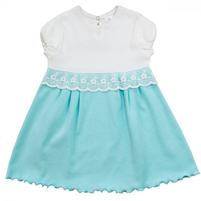 ПлатьеПлатьебирюзовогоцвета маркиМамуляндиядлядевочек.<br>Милое платье с коротким рукавом, выполненное из хлопкового трикотажа, декорировано нежным кружевом и вставкой молочного цвета. Модель дополнена эластичной резинкой на рукавах, а также сзади кнопкой для удобства переодевания малышки.<br><br>Размер: 12 месяцев<br>Цвет: Бирюзовый<br>Рост: 80<br>Пол: Для девочки<br>Артикул: 676545<br>Страна производитель: Россия<br>Сезон: Весна/Лето<br>Состав: 100% Хлопок<br>Бренд: Россия<br>Вид застежки: Кнопки