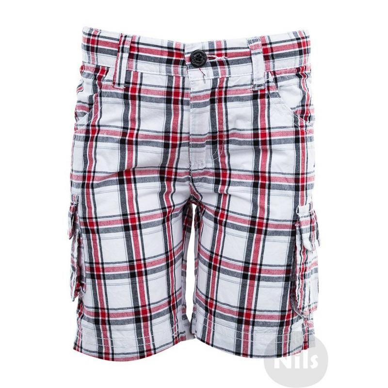 ШортыБелые шорты в красную клетку марки WOOLOO MOOLOO для мальчиков.Шорты с накладными карманами на штанинах выполнены из стопроцентного хлопка, застегиваются на молнию и пуговицу. Пояс регулируется специальными пуговицами на внутренней стороне.<br><br>Размер: 18 месяцев<br>Цвет: Белый<br>Рост: 86<br>Пол: Для мальчика<br>Артикул: 606998<br>Страна производитель: Китай<br>Сезон: Весна/Лето<br>Состав: 100% Хлопок<br>Бренд: Испания