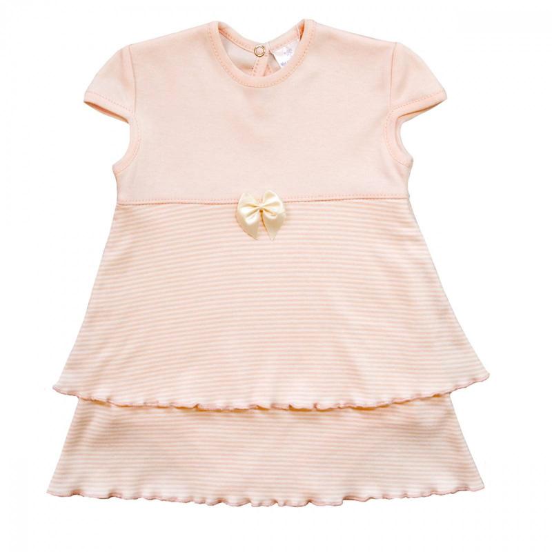 БодиБоди-платье персиковогоцвета маркиМамуляндиядля девочек.<br>Милое боди с нашитой юбочкой, выполненное из чистого хлопка, декорировано принтом в белую полоску, а также украшено нежным атласным бантиком. Модель дополнена рукавами-крылышками и кнопками для удобства переодевания малышки.<br><br>Размер: 9 месяцев<br>Цвет: Персиковый<br>Рост: 74<br>Пол: Для девочки<br>Артикул: 676535<br>Страна производитель: Россия<br>Сезон: Весна/Лето<br>Состав: 100% Хлопок<br>Бренд: Россия<br>Вид застежки: Кнопки