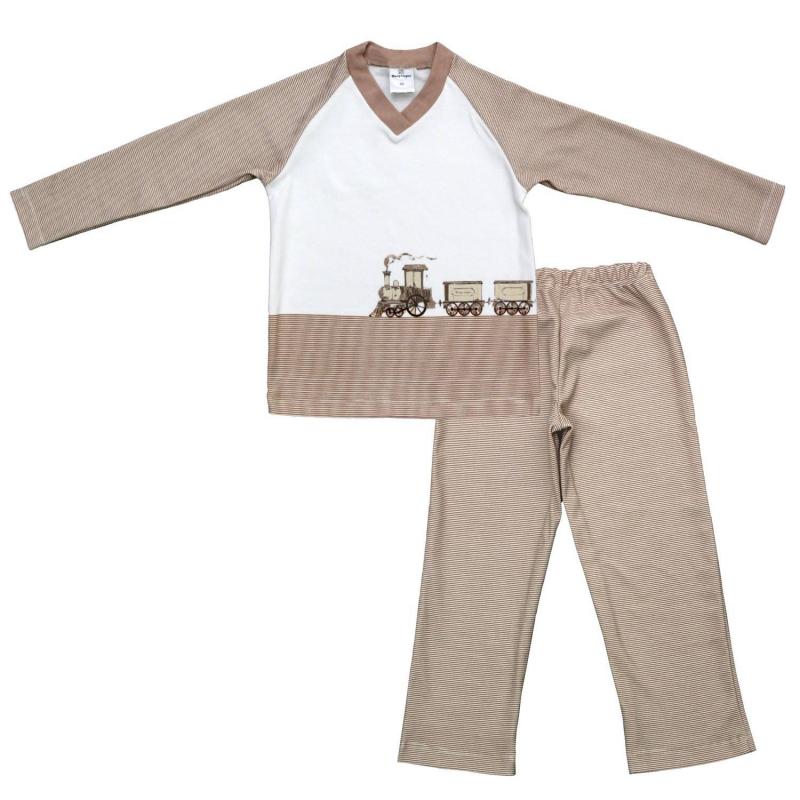КомплектКомплект футболка с длинным рукавом+брюки бежевогоцвета маркиМамуляндиядлямальчиков.<br>В домашний комплект входят футболка и брюки, выполненные из чистого хлопка. Футболка с длинным рукавом декорирована вставкой молочногоцветаиизображением паровоза. Брюки дополнены эластичной резинкой на поясе. Комплект украшен принтом в белую полоску.<br><br>Размер: 5 лет<br>Цвет: Бежевый<br>Рост: 110<br>Пол: Для мальчика<br>Артикул: 676823<br>Страна производитель: Россия<br>Сезон: Всесезонный<br>Состав: 100% Хлопок<br>Бренд: Россия