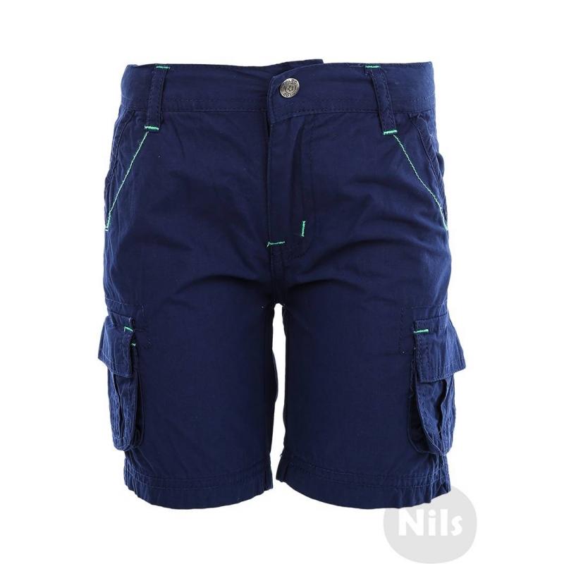 ШортыТемно-синиешорты марки WOOLOO MOOLOO для мальчиков. Шорты с накладными карманами на штанинах выполнены из стопроцентного хлопка, застегиваются на молнию и брючную застежку-крючок. Пояс регулируется специальными пуговицами на внутренней стороне. Шорты украшены декоративной отстрочкой зеленого цвета.<br><br>Размер: 5 лет<br>Цвет: Темносиний<br>Рост: 110<br>Пол: Для мальчика<br>Артикул: 607058<br>Страна производитель: Китай<br>Сезон: Весна/Лето<br>Состав: 100% Хлопок<br>Бренд: Испания