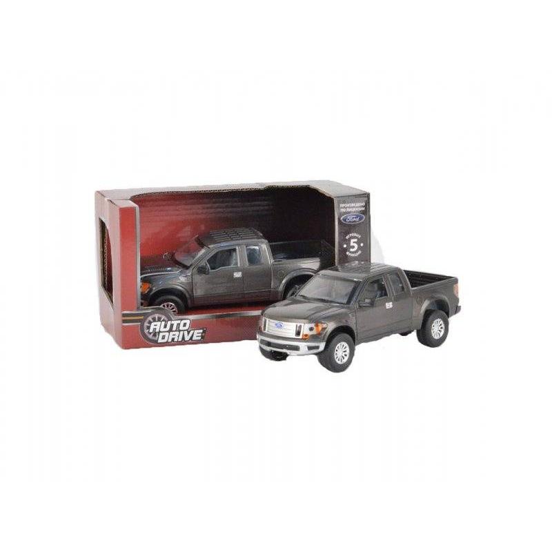 Машинка Форд F 150Машинка Форд F-150 темно-серого цвета марки AUTODRIVE.<br>Модель автомобиля выполнена по лицензии Ford в масштабе 1:32. Инерционная машинка со световыми и звуковыми эффектами, а также открывающимися дверями и капотом. При нажатии на корпус автомобиля и при открытии дверей издается звук.<br>Материал: пластик;<br>Размер: 12х12х22 см.<br><br>Цвет: Темносерый<br>Возраст от: 3 года<br>Пол: Для мальчика<br>Артикул: 660047<br>Бренд: Россия<br>Страна производитель: Китай<br>Размер: от 3 лет