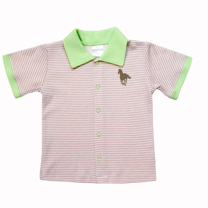 РубашкаРубашка бежевогоцвета марки Мамуляндия для мальчиков.<br>Стильная рубашка с коротким рукавом, выполненная из хлопкового трикотажа,декорирована принтом в белую полоску и изображением лошади. Модельдополнена контрастным отложным воротничком и яркими вставками на рукавах, а также кнопками по всей длине для удобства переодевания малыша.<br><br>Размер: 6 месяцев<br>Цвет: Бежевый<br>Рост: 68<br>Пол: Для мальчика<br>Артикул: 676638<br>Бренд: Россия<br>Страна производитель: Россия<br>Сезон: Весна/Лето<br>Состав: 100% Хлопок<br>Вид застежки: Кнопки