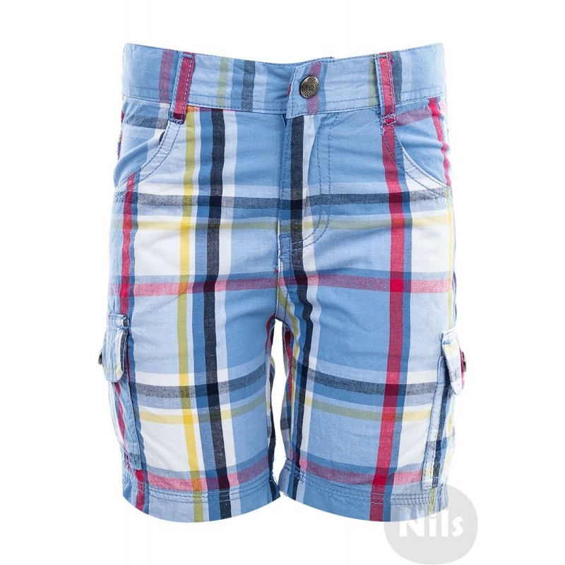 ШортыГолубыешорты в клеточку марки WOOLOO MOOLOO для мальчиков. Шорты с накладными карманами на штанинах выполнены из стопроцентного хлопка, застегиваются на молнию и кнопку. Пояс регулируется специальными пуговицами на внутренней стороне.<br><br>Размер: 5 лет<br>Цвет: Голубой<br>Рост: 110<br>Пол: Для мальчика<br>Артикул: 607073<br>Бренд: Испания<br>Страна производитель: Китай<br>Сезон: Весна/Лето<br>Состав: 100% Хлопок