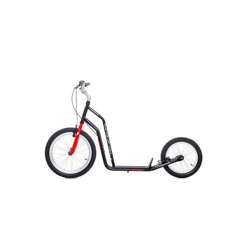 Самокат Mezeq VbrСамокат Mezeq Vbr красногоцвета марки YEDOO.<br>Данная модель стирает рамки между самокатом и велосипедом, является идеальным вариантом для скоростных поездок по бездорожью. Самокат имеет большие надувные колеса, удобные ручные тормоза и регулируемый по высоте руль. Самокат выгодно отличается оригинальным дизайном стальной рамы. Отличная модель для взрослых и детей ростом не ниже 155 см.<br>Характеристики:<br>- рама: Hi-ten steel (облегченная сталь);- размер колёс: переднее 20, заднее 16;- шины: надувные Innova Street;- обода: алюминиевые;- класс подшипников: NECO;- вынос: Zoom;- тормоза передние и задние: V-BREAK Tektro;- грипсы: анатомические;- ширина руля: 66 см;- регулируемая высота руля: от 96 до 103 см;- длина платформы для ноги: 36 см;- длина самоката: 158 см;- максимальная нагрузка: до 150 кг;- вес: 11,2 кг;- дополнительно: нескользящая платформа для ног, центральная подножка.<br><br>Цвет: Красный<br>Возраст от: 14 лет<br>Пол: Не указан<br>Артикул: 677149<br>Бренд: Чехия<br>Страна производитель: Китай<br>Размер: от 14 лет<br>Тип колес: Надувные<br>Количество колес: 2<br>Тип самоката: Внедорожный<br>Тормоз: Ручной<br>С амортизаторами: Нет<br>Складной: Нет