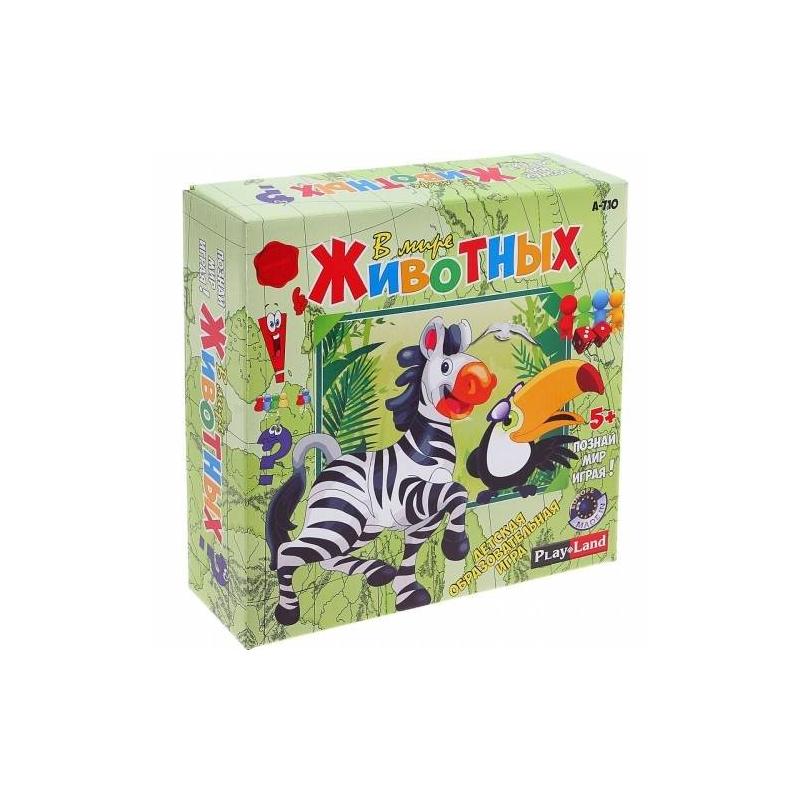 Настольная игра В мире животныхНастольная игра В мире животных марки PlayLand.<br>Увлекательная игра для 2-4 человек с ведущим, который будет контролировать процесс, раздавать деньги, задавать вопросы и проверять ответы. Цель игры: пройти как можно больше через красные и синие ходы с цифрами, ответить верно на большее количество вопросов и получить деньги и жетоны.<br>В комплекте: игровое поле размером 33х48х4 см, 24 карты, 48 жетонов, 60 банкнот, книга знаний, игральная кость 4 игральные фигуры.<br><br>Возраст от: 5 лет<br>Пол: Не указан<br>Артикул: 667091<br>Страна производитель: Болгария<br>Бренд: Болгария<br>Размер: от 5 лет