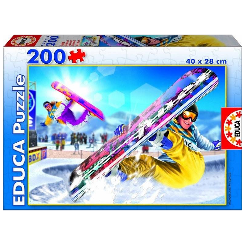 Пазл Сноубординг 200 деталейПазл Сноубординг марки Educa.<br>Пазл состоит из 200 элементов с изображением сноубордистов.<br>Размер: 40х28см.<br><br>Возраст от: 6 лет<br>Пол: Не указан<br>Артикул: 667136<br>Бренд: Испания<br>Размер: от 6 лет<br>Количество деталей: от 101 до 200<br>Тематика: Разное