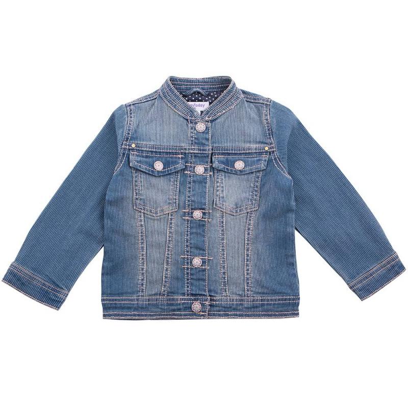 КурткаКурткасинегоцвета маркиPlaytodayдля девочек.<br>Стильная джинсовая куртка с эффектом потёртости выполнена из хлопка с добавлением эластана. Модель застёгивается на кнопки и дополнена двумя нагрудными карманами.<br><br>Размер: 5 лет<br>Цвет: Синий<br>Рост: 110<br>Пол: Для девочки<br>Артикул: 649050<br>Страна производитель: Китай<br>Сезон: Весна/Лето<br>Состав: 98% Хлопок, 2% Эластан<br>Бренд: Германия<br>Вид застежки: Кнопки