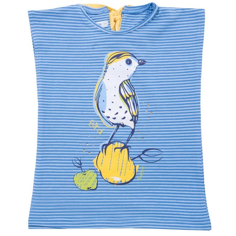 ФутболкаФутболка жёлтогоцвета марки Playtodayдля девочек.<br>Летняя футболка выполнена из хлопка с добавлением эластана. Модель декорированапринтом с изображением птицы, мелкими блёстками и стразами. Футболка завязывается на шелковистую ленту контрастного цвета на спинке.<br><br>Размер: 8 лет<br>Цвет: Синий<br>Рост: 128<br>Пол: Для девочки<br>Артикул: 649478<br>Страна производитель: Бангладеш<br>Сезон: Весна/Лето<br>Состав: 95% Хлопок, 5% Эластан<br>Бренд: Германия