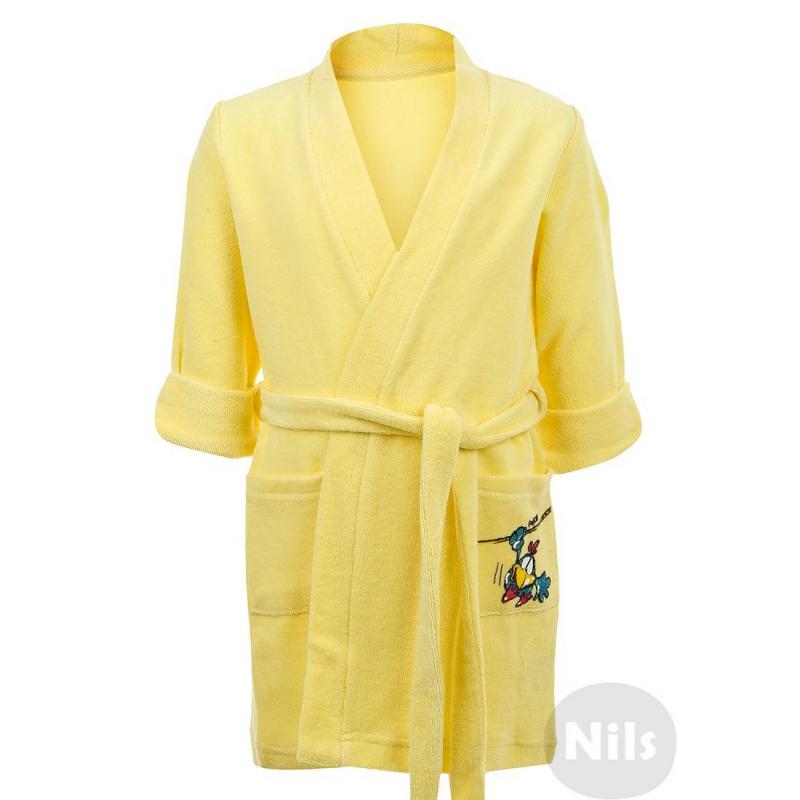 ХалатХлопковый халат желтогоцвета марки PELICAN для девочек. Махровый халат с карманом и поясом выполнен из стопроцентного хлопка и украшен принтомна кармане.<br><br>Размер: 5 лет<br>Цвет: Желтый<br>Рост: 110<br>Пол: Для девочки<br>Артикул: 605747<br>Страна производитель: Китай<br>Сезон: Всесезонный<br>Состав: 100% Хлопок<br>Бренд: Россия