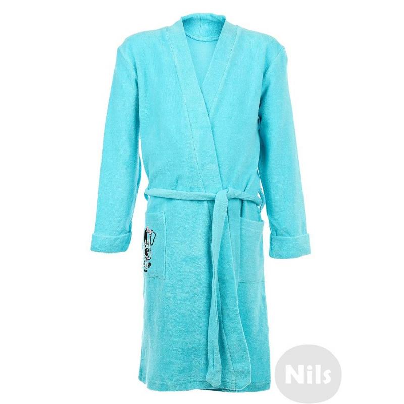ХалатХлопковый халат бирюзового цвета марки PELICAN для девочек. Мягкий махровый халат с карманом и поясом выполнен из стопроцентного хлопка. Карман украшен принтом с собачкой.<br><br>Размер: 8 лет<br>Цвет: Бирюзовый<br>Рост: 128<br>Пол: Для девочки<br>Артикул: 605762<br>Страна производитель: Китай<br>Сезон: Всесезонный<br>Состав: 100% Хлопок<br>Бренд: Россия