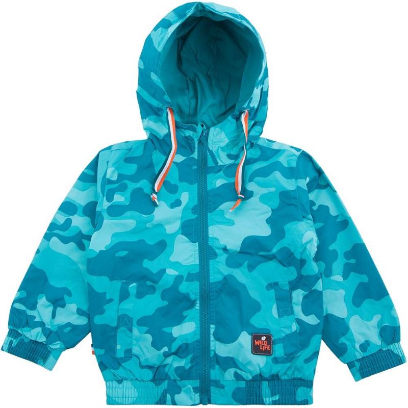 КурткаКуртка бирюзовогоцвета марки Playtoday для мальчиков.<br>Ветровка с просторным капюшоном декорирована принтом в стиле милитари и дополнена завязками, а также передними карманами на липучке. Куртка с широкими резинками на манжетах застегивается на удобную безопасную молнию.<br><br>Размер: 6 лет<br>Цвет: Бирюзовый<br>Рост: 116<br>Пол: Для мальчика<br>Артикул: 649551<br>Страна производитель: Китай<br>Сезон: Весна/Лето<br>Состав: 100% Полиэстер<br>Состав подкладки: 65% Полиэстер, 35% Хлопок<br>Бренд: Германия